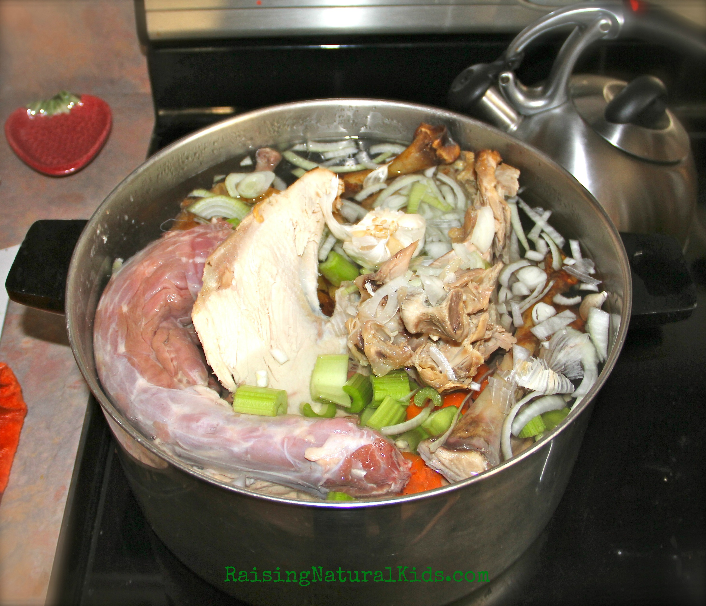 If you look closely, you'll see garlic and onion skins in with the turkey bone broth.